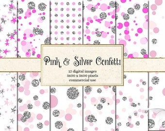 Pink and Silver Glitter Confetti digital paper, pink and silver polka dots printable scrapbook paper, girl baby pink party backgrounds
