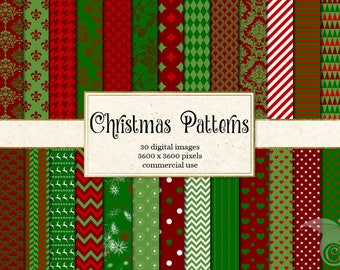 Christmas Digital Paper, red and green digital paper, holiday patterns backgrounds, scrapbook paper instant download commercial use