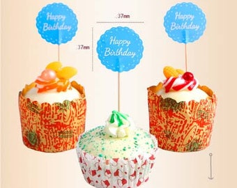 12pcs HAPPY BIRTHDAY Cupcake Toppers