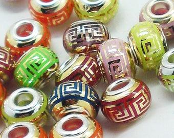 Aztec 14mm x 10mm Lampwork bead resin