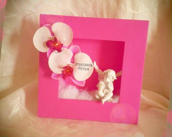 Pink Green frame with orchids and Angelo