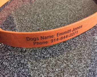 Personalized Leather Dog Collar Laser Engraved Dog Name Phone Number Size S M L XL XXL Tan Color Sturdy Plain Heavy Duty Custom Pet IDs