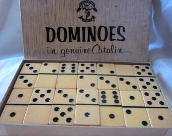 CATALIN/BAKELITE DOMINOES Set, Vintage Dominoes, Game Of Dominoes, Bakelite Game,Vintage Game, Butterscotch Tiles ,Butterscotch Dominoes