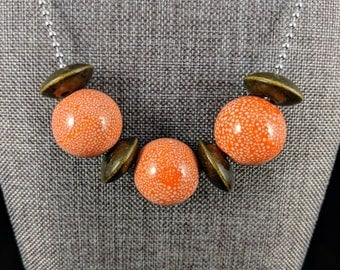 Tropical Flair - Stainless Steel and Large Ceramic  Beads with Wood Disks Necklace.