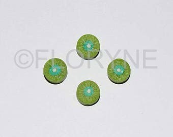 4 charms in the shape of Fruit Fimo beads: Kiwi