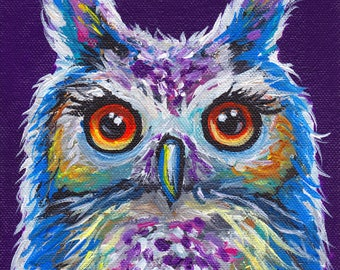 Owl art print from original canvas painting, colorful fun owl art
