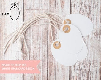 25pcs Blank White oval tags 110lb card stock with brown kraft reinforced holes ready to ship