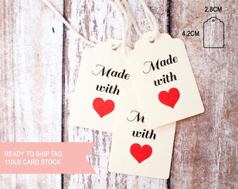 25pcs Made with love small scallop top tags 110lb card stock ready to ship