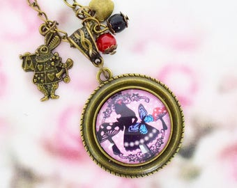 "Necklace cabochon ""Alice in Wonderland country"""