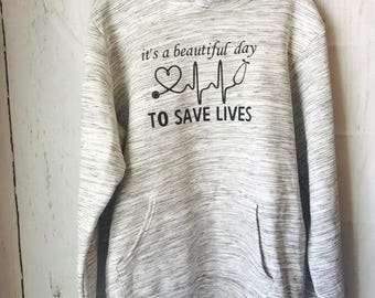 It's a beautiful day to save lives hooded sweatshirt; hoodie greys anatomy derek shepard; Greys Meredith Gray