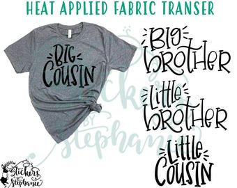 IRON ON v122-L2 Big Little Brother Cousin Block Heat Applied T-Shirt Fabric Transfer Decal *Color Choice in Notes or BLACK Vinyl