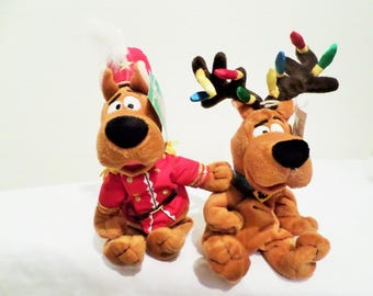 """Warner Brothers Scooby Doo Holiday Tags """"Nutcracker"""" Dressed In Red Jacket/Gold Trim&/Christmas Lights For Antlers Scooby/New Set of 2! Gift"""
