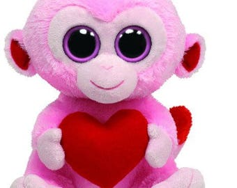 Ty Beanie Boos Julep Pink Monkey with Heart 36056