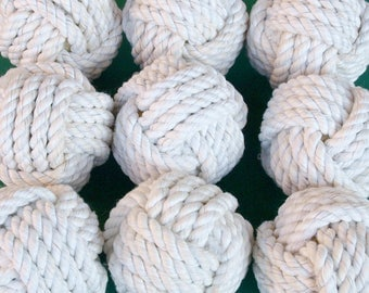Coastal Wedding Knots cotton Rope 12 Table Number Holders for your Nautical Wedding Monkey Fist Rope Knots