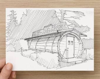 Ink Sketch of One Log House on Route 101 Near Red Wood National Forest In California - Drawing, Art, Pen and Ink, Architecture 5x7, 8x10