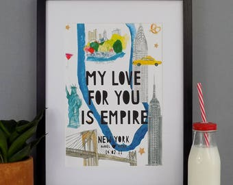 New York City Print -  Personalised New York Print - New York Landmark Map - New York Art - New York Engagement -  Illustrated New York Map