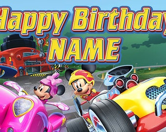 Mickey Mouse Roadsters custom Birthday Banner