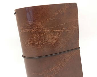 Brown Leather Travelers Cover - Arcadian Collection - Cracked Brown - Chestnut Notebook - Full Grain - Journal - Water Buffalo