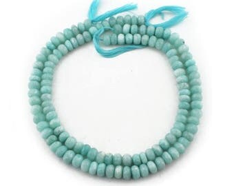 Mega Sale 2 Long Strands Amazonite Silver Coated Faceted Rondelles Beads - Amazonite Roundle  9mm 14 Inch  SB1164