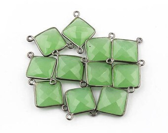 MEGA SALE 11 Pcs Green Chalcedony Oxidized Silver Faceted Cushion Double Bail Connector - 22mmx16mm SS1552