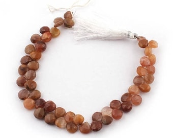 Valentines Day 1 Strand Chocolate Moonstone Faceted Briolettes -  Heart Shape Beads 8mm 8 Inches SB4765