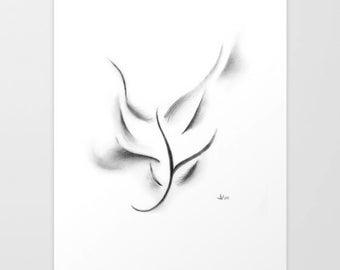 Spirit of Fae, Art Print, Graphite, Pencil, Drawing, Black and White, Minimalist, Abstract, Decor, Art, Print