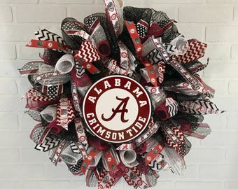 Alabama Crimson Tide wreath,  Alabama Crimson Tide deco mesh wreath, Alabama ribbon, Alabama Crimson Tide Fan, Alabama Gift, Alabama house
