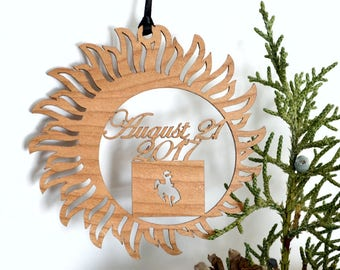 Wyoming Solar Eclipse  ornament wood cut decoration. Laser cut Total Solar Eclipse ornament Path of Totality through Wyoming