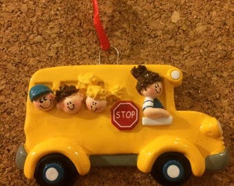 School Bus Driver With Children Personalized Christmas Ornament