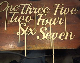 Script wedding table number set 1-13 table numbers on a stick
