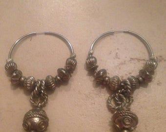 SALE Vintage Silver Dangle Hoop Earrings Charm Beaded Costume Jewelry
