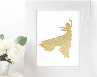 "Gold Glitter Elsa Frozen Silhouette,  5x7"" 8x10"" incld., DIGITAL PRINTABLE File, Gold Sparkle Design Silhouette, Disney Princess Decor"