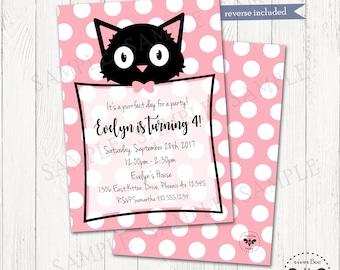 Cute Black Kitten Birthday Party Invitation, Printable Cat Birthday Invite, Digital Purrfect Pawty Invitation, DIY Kitten Birthday Party