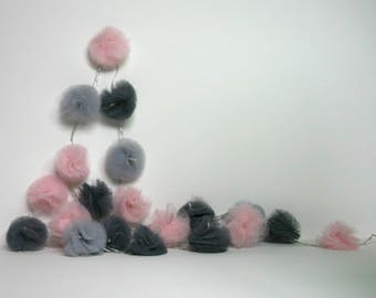 20 Led - Light string with tassels tulle light pink, light gray and dark gray