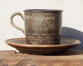 Porsgrund Norway Tea/ Coffee Cup Saucer Brown Vintage Stoneware Kitchen Collectible Tableware 1970 s