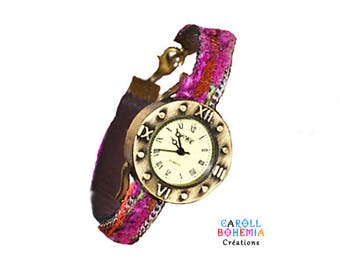 Ladies watch, leather, silk threads, chain, Bohemian spirit, camel, pink