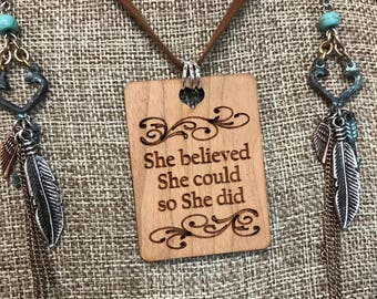 She believed whencoild so she did Necklace, Group Gift Ideas, Group Discounts, Wedding Gifts, Laser Engraved, Bursting Barns Designs