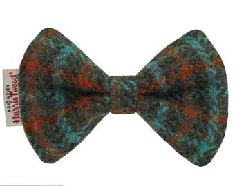Harris Tweed Rust & Green Check Designer Dog Bow Tie