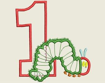 Hungry Caterpillar Embroidery Design, Caterpillar Applique Embroidery Design, First Birthday Design,