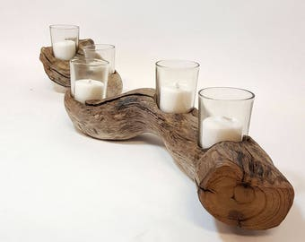 Driftwood Candle Holder, Votive Candle Holders, Driftwood Centerpiece, Driftwood Beach Decor, Wedding Gift Idea, Coffee Table Decor