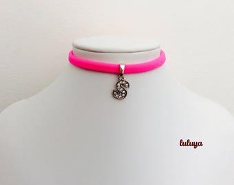 Kids Girls Pink Handmade Stretch Choker Necklace Initial S Crystal Charm Gift Birthday