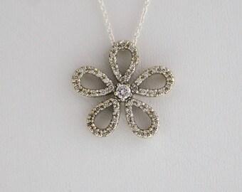 Diamond Pendant in 14 k White Gold
