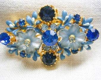 Vintage Austrian Rhinestone Enamel Blue Floral Brooch