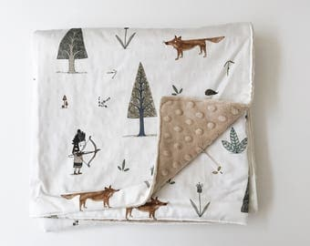 Organic Cotton Woodland Stroller Blanket with  Latte Dotted Minky Backing
