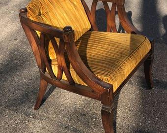 Vintage Mid-Century Velour Striped Chair