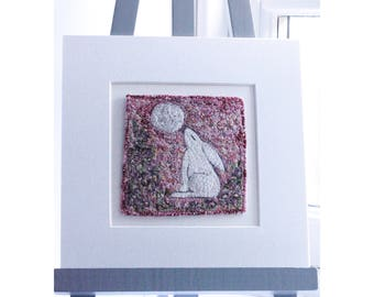 Hare and Moon, with wild clematis, embroidered,stitched original artwork