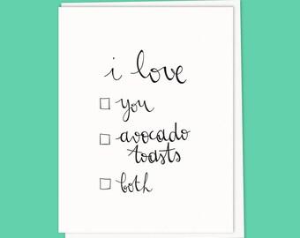 Card. i love avocado toast...
