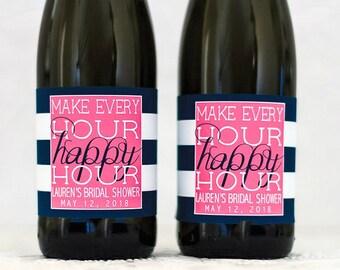 Bridal Shower Mini Wine Bottle Labels - Birthday Mini Champagne Labels - Bachelorette Party Favor - Wedding Shower Favor - Party Decorations