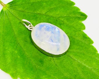 Rainbow Moonstone Pendant/ necklaces set in Sterling silver 925. Natural authentic moonstone. Length - 1.31 inch long