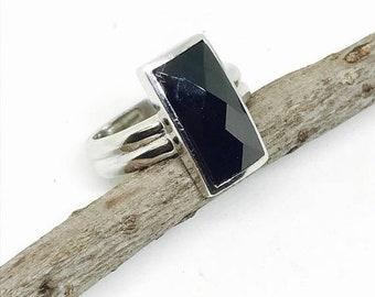 10% Black Spinel ring set in sterling silver (92.5). Size - 7. Natural authentic black spinel. Satisfaction guaranteed .